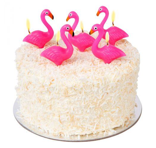 Set of 5 pink flamingo pick candles - FLAMINGO CAKE CANDLE