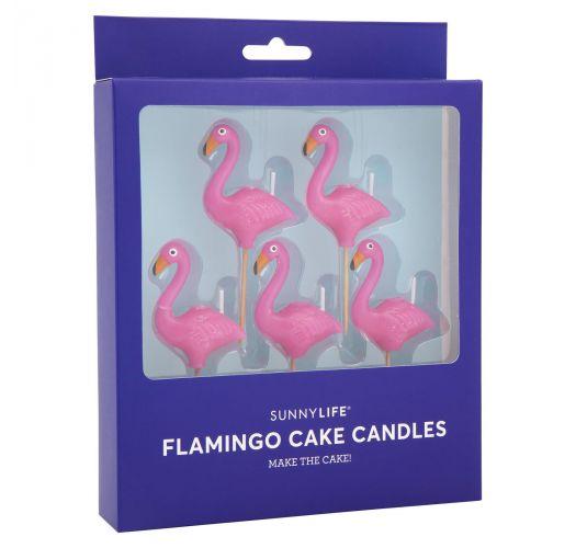 Набор из 5 свечей в форме розового фламингона шпажках - FLAMINGO CAKE CANDLE
