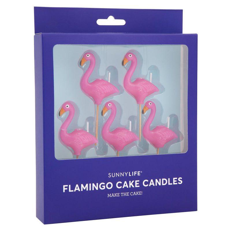 Set med 5 flamingoljus - FLAMINGO CAKE CANDLE