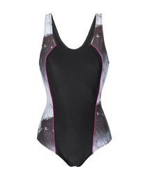 Solid black and printed pattern swimsuit - MAIO FRISO