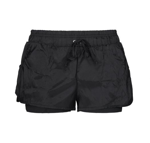 Black fitness shorts with elastic waistband - SHORT SUMMIT