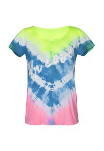 Tie-dye workout T-shirt with text - SKIN FIT TIE DYE