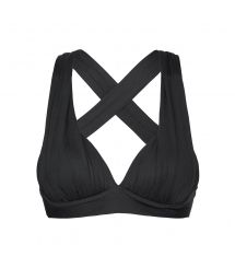 Black padded sports bra with cross-back - TOP MICROLIGHT