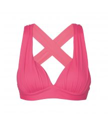 Neon pink padded sports bra with cross-back - TOP PINK HOLY