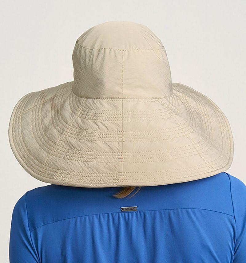 Dunkelbeiger großer geschmeidiger Hut - CHAPEU BEVERLY HILLS KAKI - SOLAR PROTECTION UV.LINE
