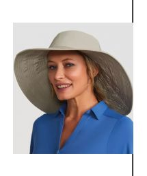 Big elastic beach hat - dark beige - CHAPEU BEVERLY HILLS KAKI - SOLAR PROTECTION UV.LINE