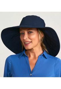 Big elastic beach hat - navy blue - CHAPEU BEVERLY HILLS MARINHO - SOLAR PROTECTION UV.LINE