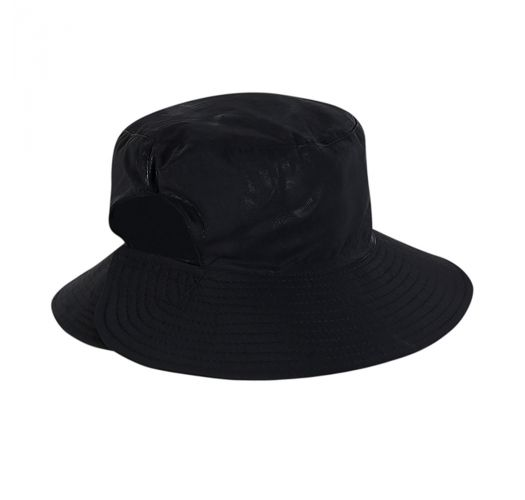 Black elastic beach hat (for ponytail) - CHAPEU CALIFORNIA PRETO - SOLAR PROTECTION UV.LINE