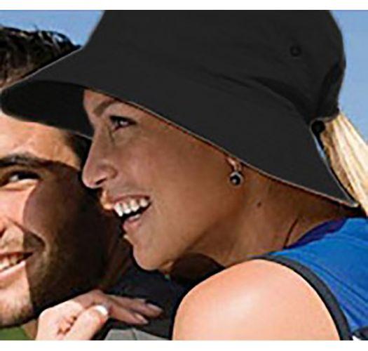 Geschmeidiger Hut mit Pferdeschwanz-Öffnung - CHAPEU CALIFORNIA PRETO - SOLAR PROTECTION UV.LINE