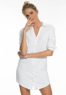 Weißes langärmliges Shirt-Kleid - UPF50 - CHEMISE BRANCO - SOLAR PROTECTION UV.LINE