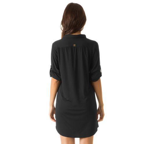 Black shirt dress UPF50 - CHEMISE PRETO - SOLAR PROTECTION UV.LINE
