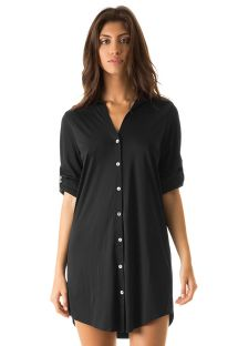 Black shirt dress UPF50 - CHEMISE PRETO - SOLAR PROTECTION UV.LINE