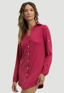 Raspberry pink shirt dress UPF50 - CHEMISE VINHO - SOLAR PROTECTION UV.LINE