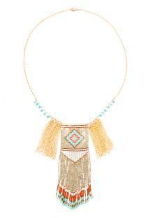 Long gold-coloured ethnic bead necklace - HIPANEMA BIRDY