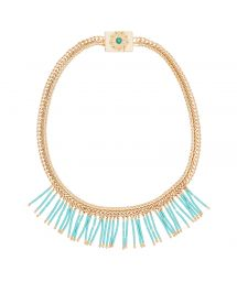 Gold-coloured choker length necklace with turquoise droplets - HIPANEMA CLEOPATRE