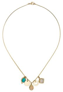 Short golden necklace with stone pendants - HIPANEMA JOYCE GOLD TURQUOISE