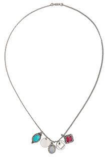 Srebrny krótki naszyjnik z zawieszkami z kamieniem - HIPANEMA JOYCE SILVER PINK