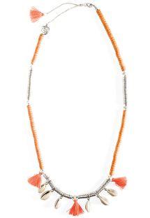 Kort forsølvet/orange halskæde med muslingeskaller - HIPANEMA LYCIA CORAL
