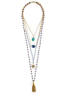 ビーズとベンダントが付いたマルチ配列になったブルーのネックレス - HIPANEMA MUMBAI GOLD