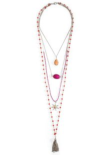 Pink/silver beaded multi-row necklace - HIPANEMA MUMBAI SILVER