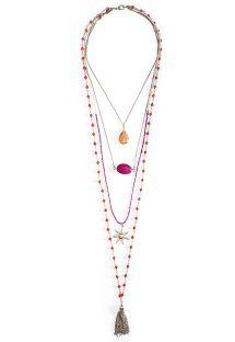 Collar largo multitiras rosa y plateado con perlas - HIPANEMA MUMBAI SILVER