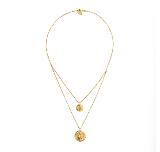 Dobbelt halsbånd, gullfarget med medaljonger - HIPANEMA OMBRE GOLD