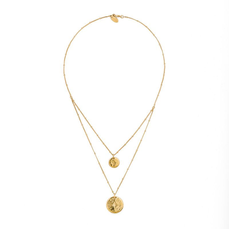 Golden double-row necklace with medallions - HIPANEMA OMBRE GOLD