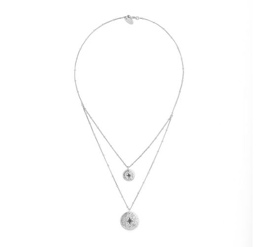 Silver double-row necklace with medallions - HIPANEMA OMBRE SILVER