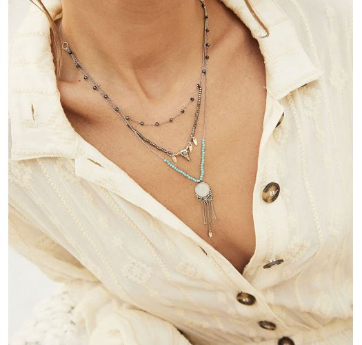 Silver necklace with 3 rows, rosary chain, buffalo head and beads - SPARROW SILVER HIPANEMA