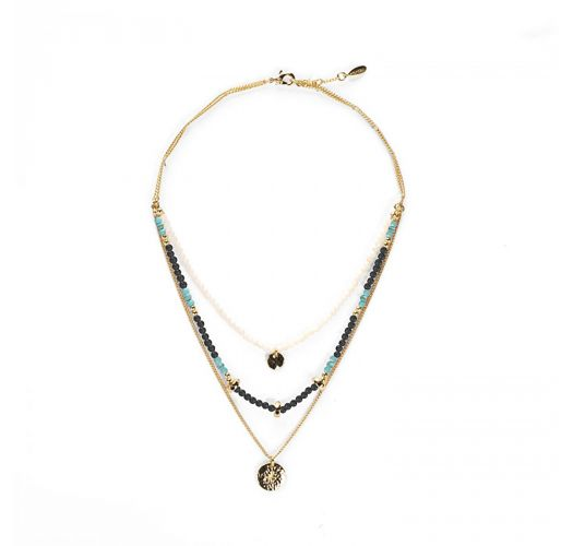 Necklace with 3 rows, hammered elements and semi-precious stones - TIKAL GOLD HIPANEMA
