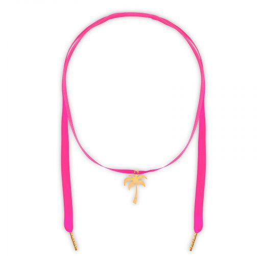 Pink ribbon necklace, gold-plated palm tree - CHOCKER PINK