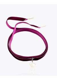 Burgundy velvet and gold-plated smiley choker - CHOCKER SMILE ROXO