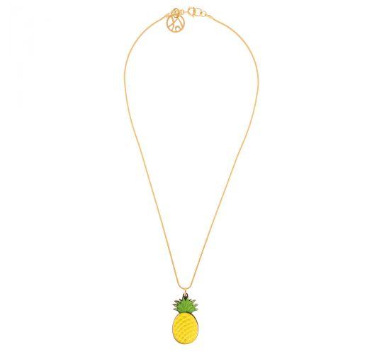 Vergoldete Halskette, ananasförmiger Anhänger - COLAR ABACAXI