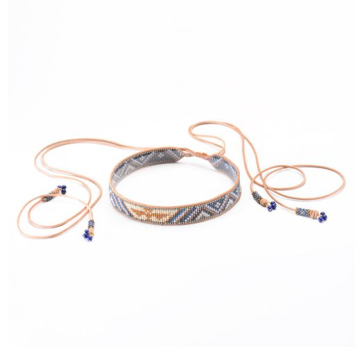 Bead choker in blue and pink - Boho Choker Necklace LE 3590