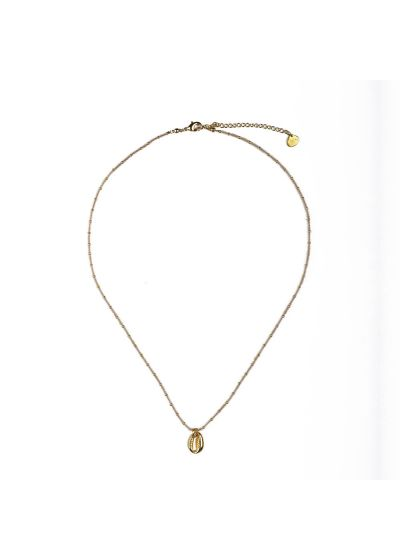 Pearl golden chain necklace with golden shell - CONCHITA NECKLACE BE-S-8374