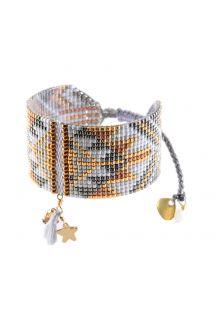 Lawendowo-miedziana szeroka bransoletka z pereł, gwiazda - Macui BE 3352M