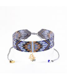 Wide blue choker in beads and charms MACUI CHOKER NECKLACE BE 3427