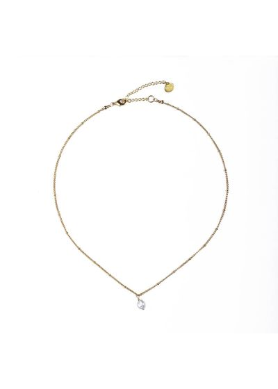 Golden chain necklace with a pearl - PEARL NECKLACE GP-XS-8376