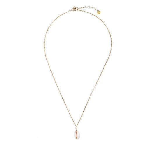 Golden chain necklace with white shell - SHELL NECKLACE GP-M-8375