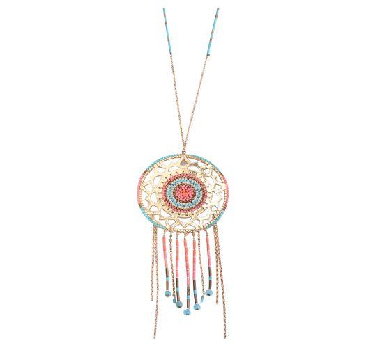 Pendant bead necklace, gold-coloured sun motif SUNNY GP 2552