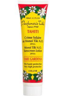 Solcreme med faktor 50 som er fremstillet med Monoi fra Tahiti - TIKI CREME SOLAIRE AU MONOI TIKI SPF50+ 100ML