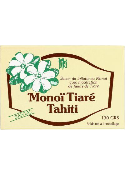 Växtbaserad tvål med Monoi och kokosolja, doft av sandelträ - TIKI SAVON SANTAL 130g