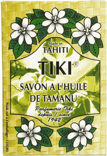 Květinové mýdlo vyrobeno s vonnými oleji Tamanu a Monoi de Tahiti - TIKI SAVON TAMANU 130grs