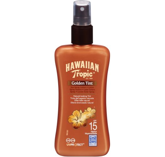 Spray-on sunscreen lotion - Natural tanned effect - SPF 15 - SPRAY GOLDEN TINT