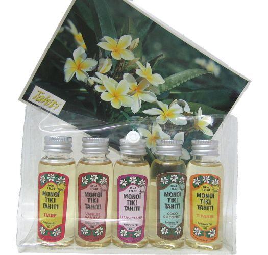 Set of 5 monoi scents including Tiare - COFFRET DECOUVERTE MONOI