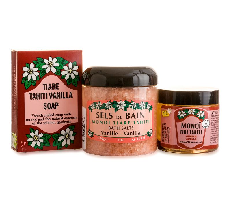 Relaxation set: bath salts, soap and vanilla monoi - PACK RELAX VANILLE