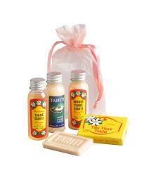 4 Mini-Konfektionen mit Monoi-Öl, Shampon, Seife, Feuchtigkeitslotion - POCHETTE CADEAU HINA