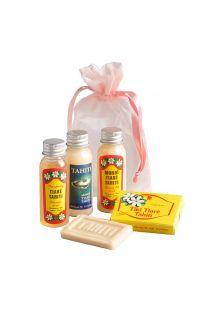 4 мини опаковки - шампоан, сапун, овлажняващ лосион, масло с манои - POCHETTE CADEAU HINA