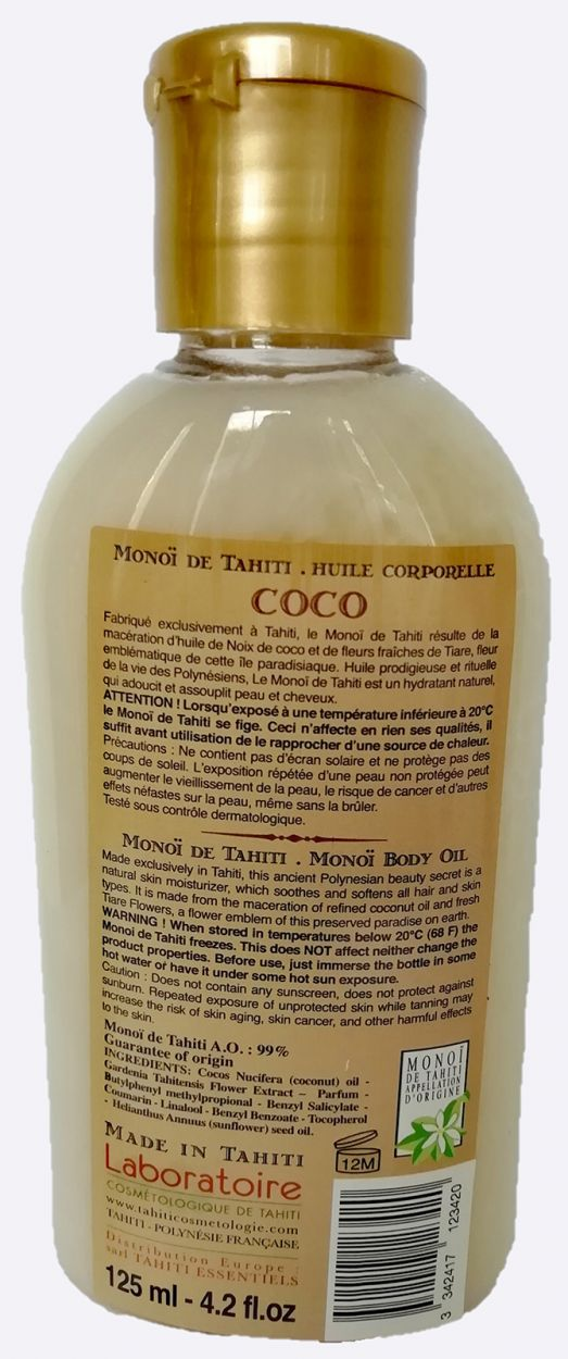 Monoi oil coconut scent - body and hair - VAHINE MONOI COCO 125ML