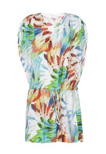 Short sleeveless beach cover-up, feather print - DRAPED COVER UP IMPERIAL